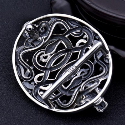 Men's Sterling Silver Double Dragon Belt Buckle