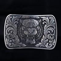 Men's Sterling Silver Roaring Tiger Belt Buckle