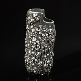 Men's Fine Silver Skulls Lighter Case