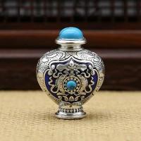 Enameled Sterling Silver Snuff Bottle