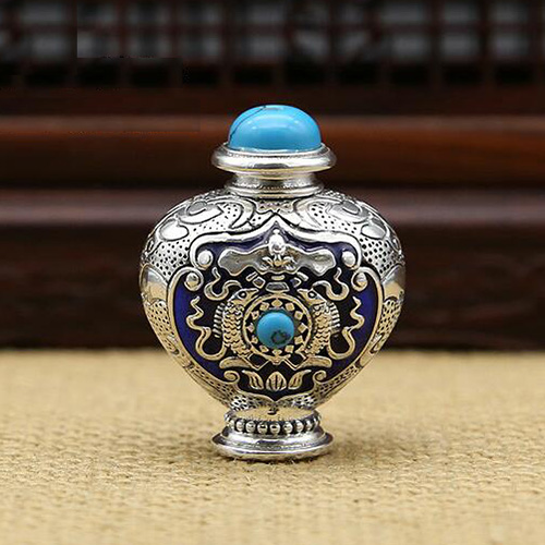 Enameled Sterling Silver Snuff Bottle