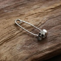 Women's Sterling Silver Skull Safety Pin Brooch