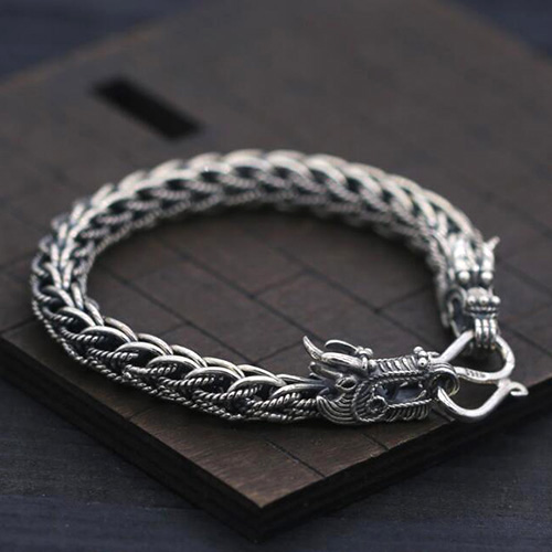 Men's Sterling Silver Dragon Chain Bracelet