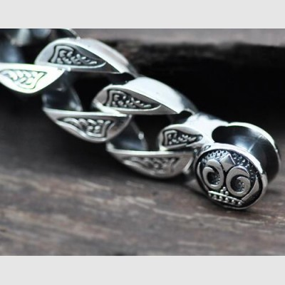 Men's Sterling Silver Chunky Engine Bracelet