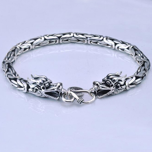 Men's Sterling Silver Byzantine Chain Dragon Bracelet