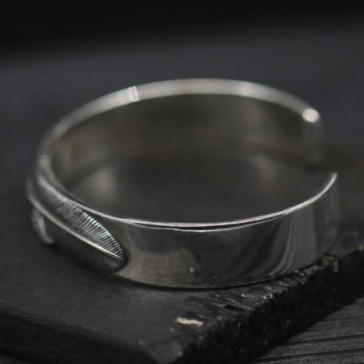 Men's Sterling Silver Feather Cuff Bracelet