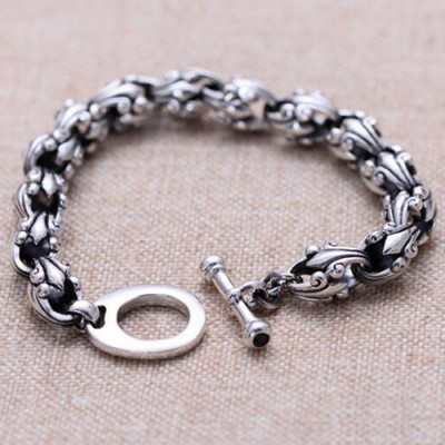 Men's Sterling Silver Cross Flora Bracelet