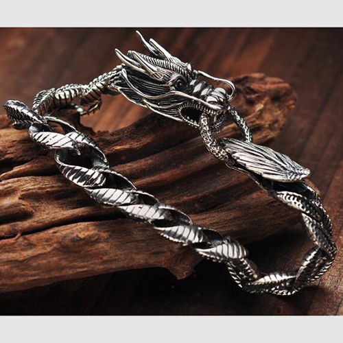 Men's Sterling Silver Dragon Bracelet