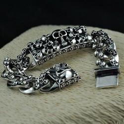 Men's Sterling Silver Skulls Bracelet