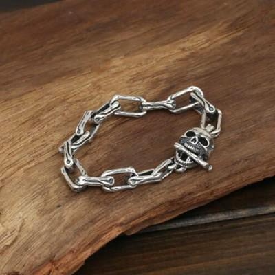Men's Sterling Silver Skull and Bones Bracelet