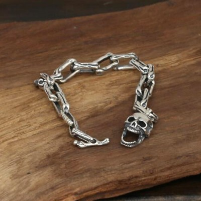 Men's Sterling Silver Skull and Bones Bracelet