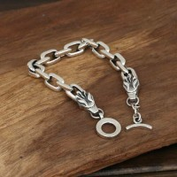 Men's Sterling Silver Dragon Heads Link Chain Bracelet