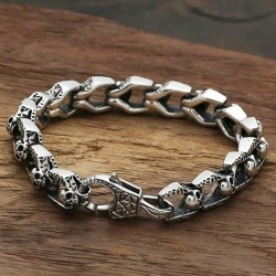 Men's Sterling Silver Skulls Link Chain Bracelet