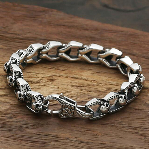 Men S Sterling Silver Skulls Link Chain Bracelet