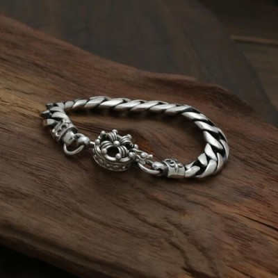 Men's Sterling Silver Floral Cross Curb Chain Bracelet