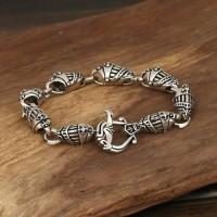 Men's Sterling Silver Helmet Chain Bracelet