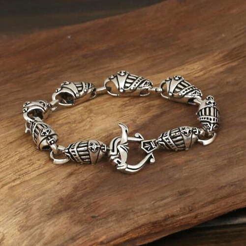 Men's Sterling Silver Helmet Chain Bracelet