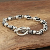 Men's Sterling Silver Skulls Chain Bracelet