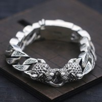 Men's Sterling Silver Leopard Curb Chain Bracelet