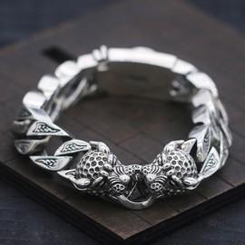 Men's Sterling Silver Leopard Curb Chain Bracelet
