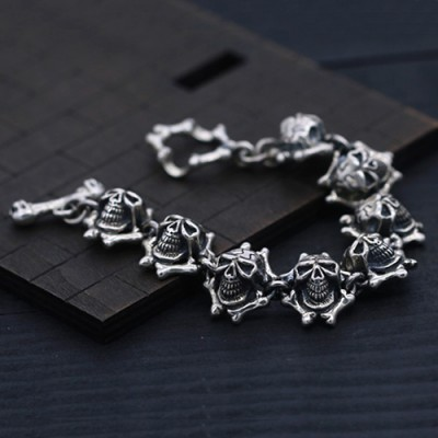 Men's Sterling Silver Bone Skulls Chain Bracelet