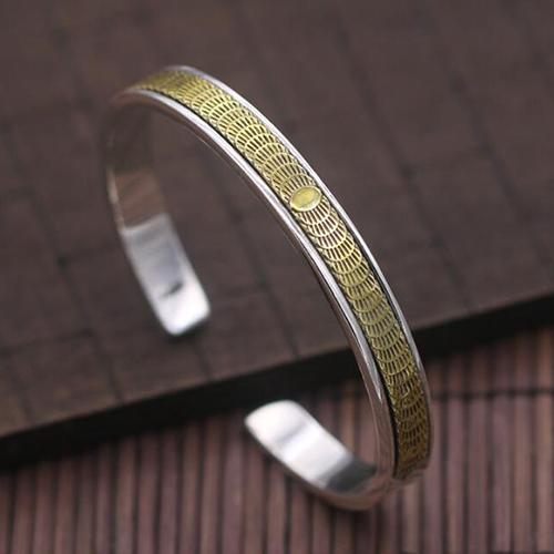 Men's Sterling Silver Solar Eclipse Cuff Bracelet