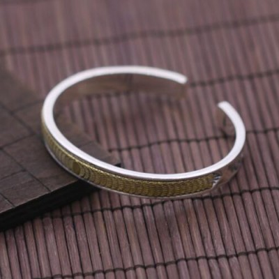 Men's Sterling Silver Solar Eclipse Cuff Bracelet