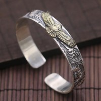 Men's Sterling Silver Eagle Cuff Bracelet