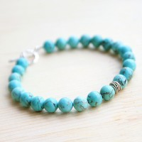 "Men's Turquoise Beaded Bracelet with Sterling Silver Charm and Clasp 6.5""-8.5"""