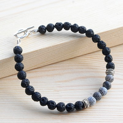 "Men's Lava Stone Beaded Bracelet with Sterling Silver Charms and Clasp 6.5""-8.5"""