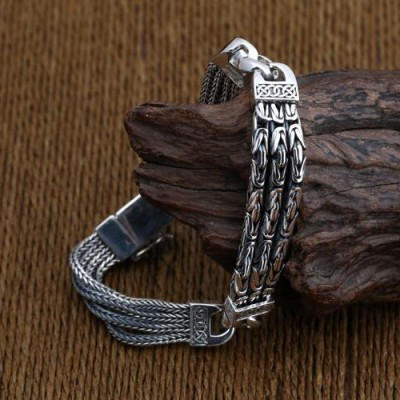 Men's Sterling Silver Byzantine and Wheat Chain Bracelet