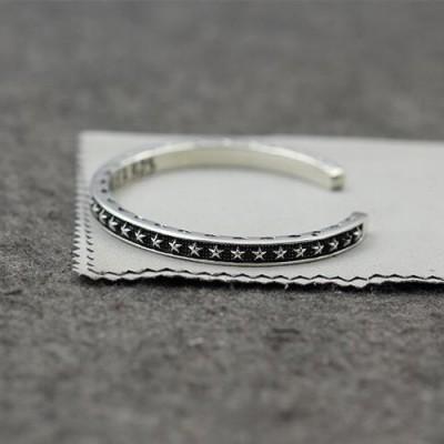 Men's Sterling Silver Stars Cuff Bracelet