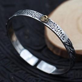 Men's Sterling Silver Skull Cuff Bracelet