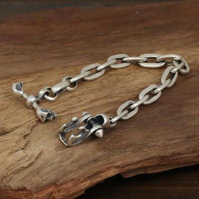 Men's Sterling Silver Skull Clasp Bracelet