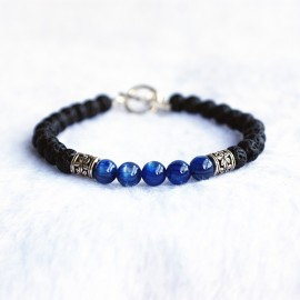 """Men's Blue Apatite Gemstone and Lava Stone Beaded Bracelet with Sterling Silver Charms and Clasp 6.5""""-8.5"""""""