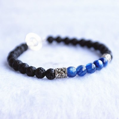 "Men's Blue Apatite Gemstone and Lava Stone Beaded Bracelet with Sterling Silver Charms and Clasp 6.5""-8.5"""