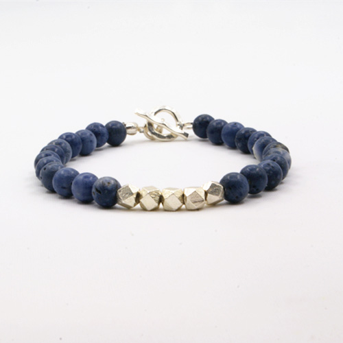 "Men's Blue Coral Beaded Bracelet with Sterling Silver Beads and Clasp 6.5""-8.5"""