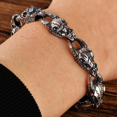 Men's Sterling Silver Goat Skulls Bracelet