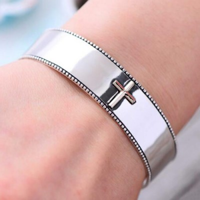 Men's Sterling Silver Cross Cuff Bracelet