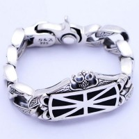 Men's Sterling Silver Crown Curb Chain Bracelet
