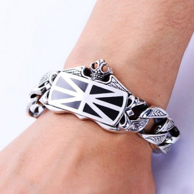 Men's Sterling Silver Crown Curb Chain Bracelet
