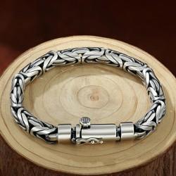 Men's Fine Silver Byzantine Chain Bracelet