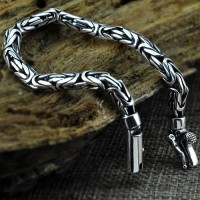 Men's Sterling Silver Byzantine Chain Bracelet