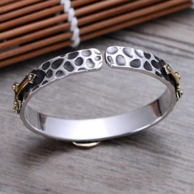 Men's Fine Silver Virgin Mary Cuff Bracelet