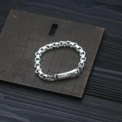 Men's Sterling Silver Square Link Chain Bracelet