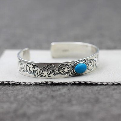 Men's Sterling Silver Turquoise Ivy Cuff Bracelet