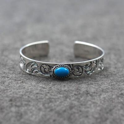 Men's Sterling Silver Turquoise Ivy Cuff Bracelet