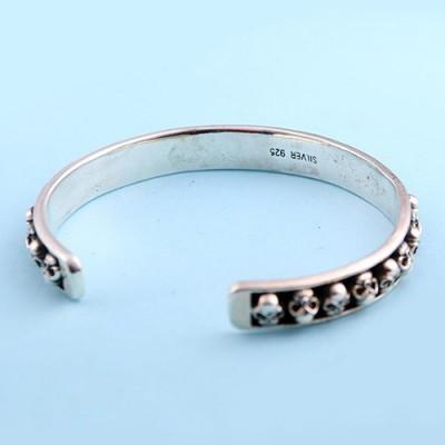 Men's Sterling Silver Skulls Cuff Bracelet
