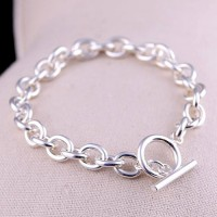 Men's Sterling Silver Oval Link Chain Bracelet