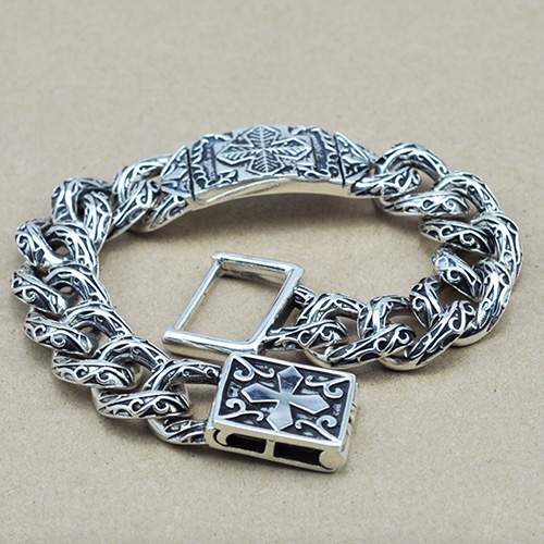 Men's Sterling Silver Cross Pattern Chain Bracelet